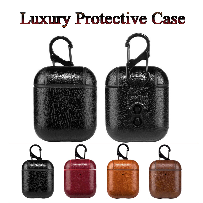 Earphone Cases For Apple Airpods Strap Luxury Leather With Buttons Headphone Case Accessories For IPhone AirPods Cover