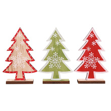 Xmas Christmas Tree Small Ornament Printing Decorations Wooden Crafts New Years for Home