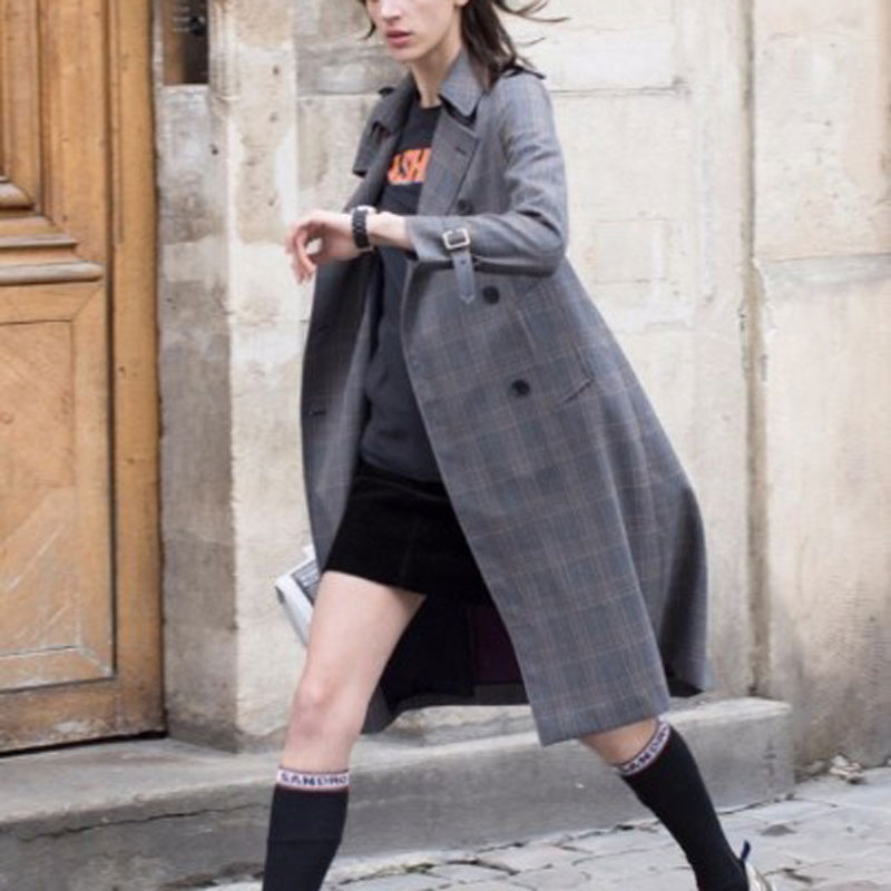 Women Plaid   Trench   Coat Autumn Turn-down Collar Double Breasted Slim Long Coat   Trench