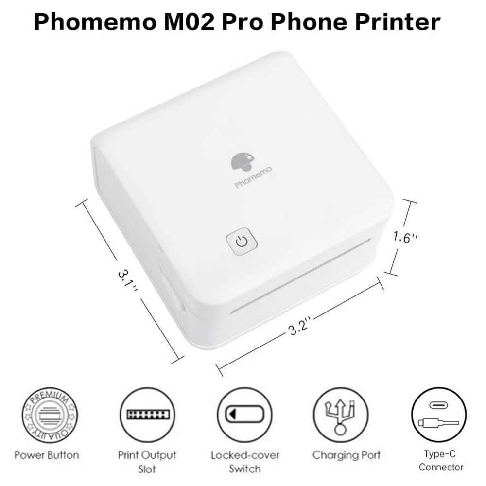 Impresora fotográfica portátil Phomemo M02Pro 300DPI, Mini impresora de etiquetas térmicas Bluetooth con interfaz única tipo C, impresora Phomemo
