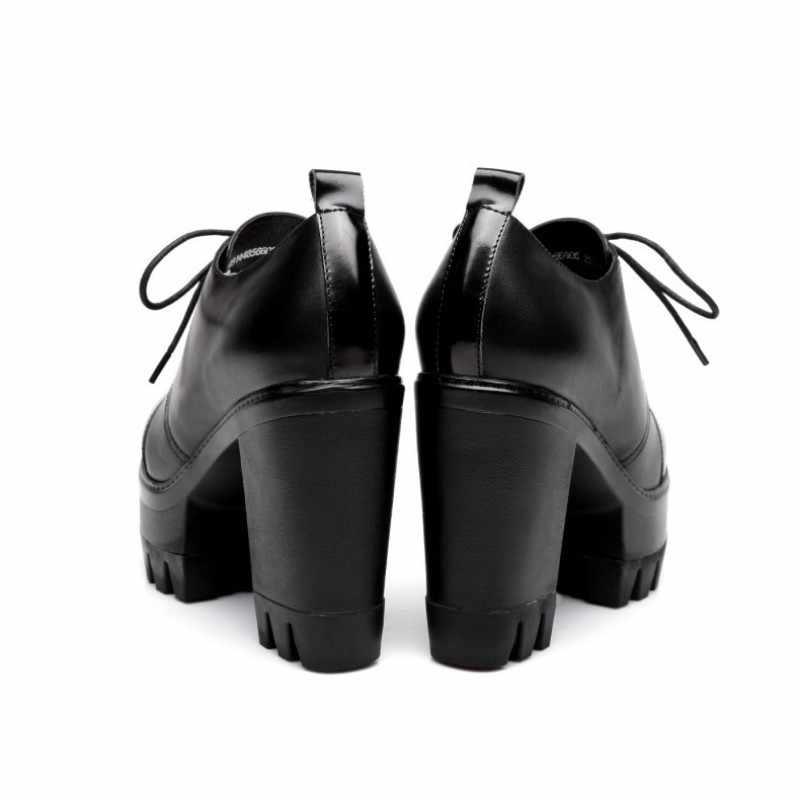 Inghilterra Stile Pattini Della Piattaforma Delle Donne di Alta Qualità Tacco Alto Genuino Della Mucca di Cuoio Della Caviglia Scarpe Stivali 2020 di Inverno Lace Up Delle Signore pompe