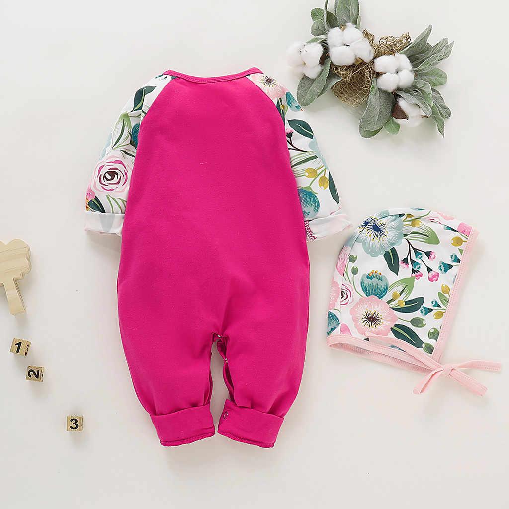 Winter Jumpsuit Baby Girl 2020 Infant Baby Girls Long Sleeve Floral Print Romper Jumpsuit+Hat Outfits Sets Newborn Snowsuit