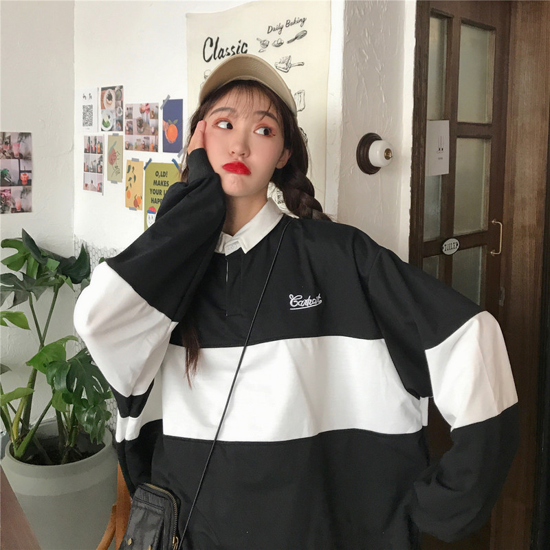 2020 Fashion Hoodies Women Winter Leisure Polo Collar Womens Pullover Kpop Letters Long Sleeve Hoodie Sweatshirts Ropa Mujer