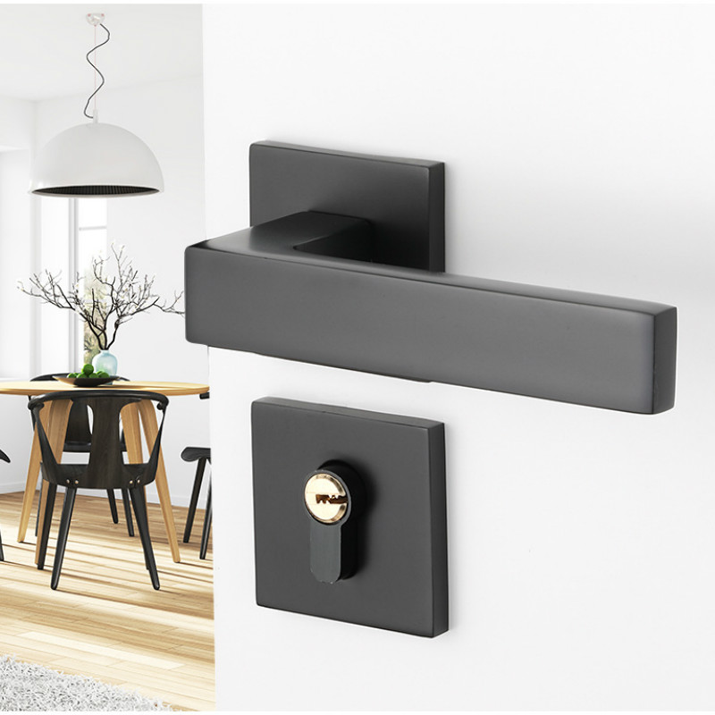 Black space aluminum door handle Interior Bedroom door lock Split Silent door lock Door hardware WJ41405