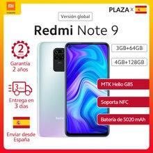Xiaomi-Smartphone Redmi Note 9 de 128GB, teléfono inteligente Redmi Note 9 de versión Global, RAM de 64GB, NFC, cámara cuádruple de 48MP, batería de 5020mAh, carga rápida de 18W, pantalla táctil de 6.53