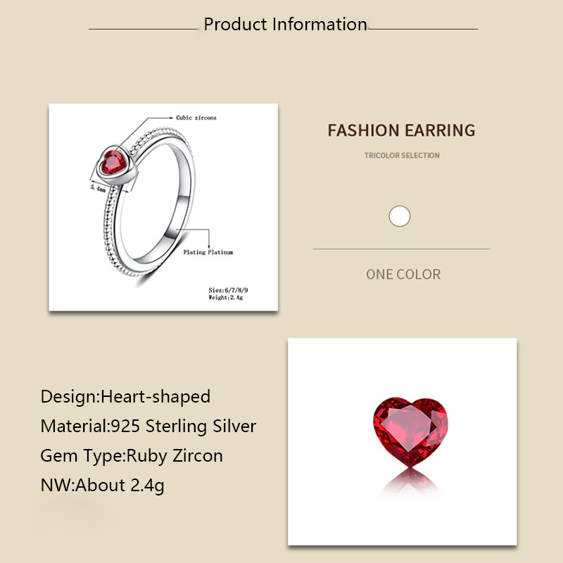 ruby zircon ring 925 silver jewelry for women x111