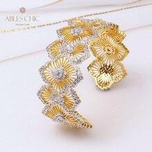 925 Silver Daisy Bangle Fretwork Flower Bracelet Paved CZ Renaissance Light Cocktail Wedding Wide Cuffs Luxury Fine Jewelry