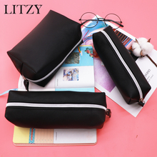 Big Pencil Case For Boys Black Leather Pencil Cases For Girls Cute Big Capacity Zipper Pencil Box Cosmetic Bag School Supplies