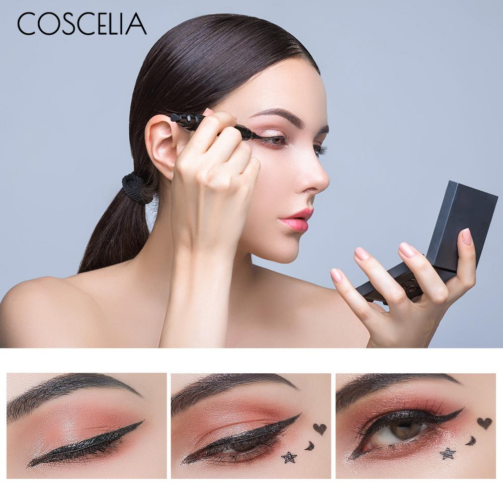 COSCELIA Black Eyeliner Pencil Waterproof Long Lasting Quick Dry Eye Liner Pen With Shape Stamp For Sexy Eyes