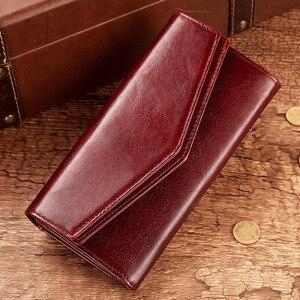 Image 5 - KAVIS cartera de cuero genuino de alta capacidad para mujer, monedero femenino, bolso de mano con abrazadera, tarjetero