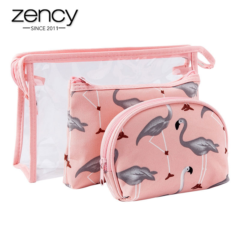 Zency Flamingo Prints Lady Cosmetic Storage Bag Set PVC Waterproof Transparent Makeup Bags Three-piece Travel Wash Bag Pink image
