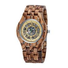 Часы наручные мужские деревянные с бамбуковым корпусом автоматические