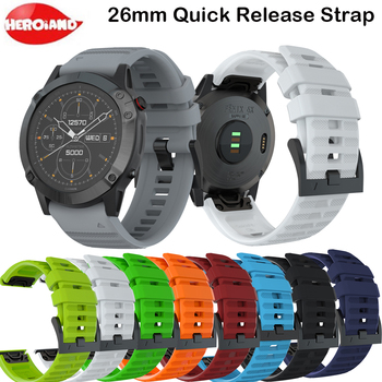 26mm Quick Release Easy Fit Sport Silicone Watch Wrist band Strap for Garmin Fenix 6X 5X 5X Plus 3 3HR Smart Watchband Bracelet quick easy fit genuine leather watchband 26mm for garmin fenix 5x 3 3hr watch band stainless steel clasp strap wrist bracelet
