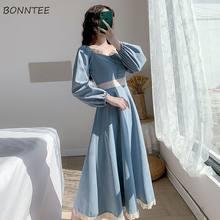 Robe à manches longues pour femmes, Vintage, automne, belle BF Empire, dames, ligne a, bleu, vacances, doux, nouvelle dentelle, manches bouffantes, Patchwork