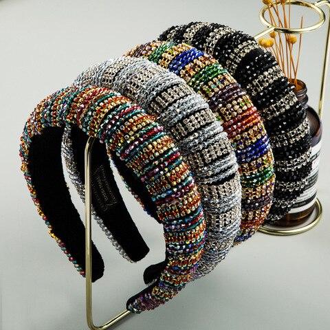 Tiara de Cristal Hairbands para Festa de Casamento Lindo Vintage Barroco Colorido Cheia Bandana Diamante