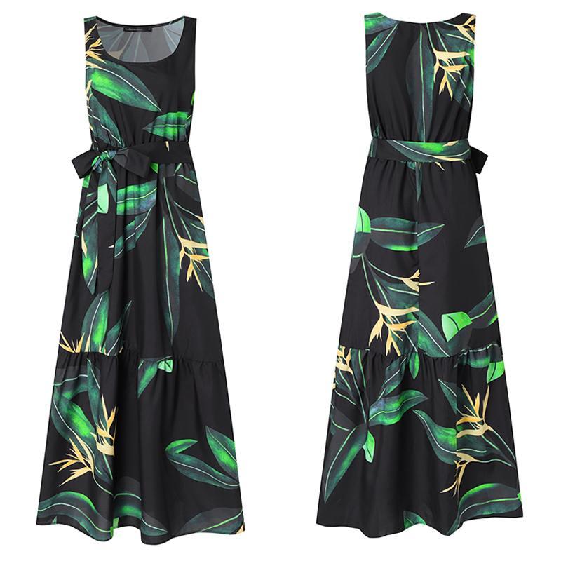 Celmia Bohemian Dress Women Summer Sundress Sleeveless Vintage Floral Print Casual Loose Ruffles Party Robe Belted Vestidos 5XL 4