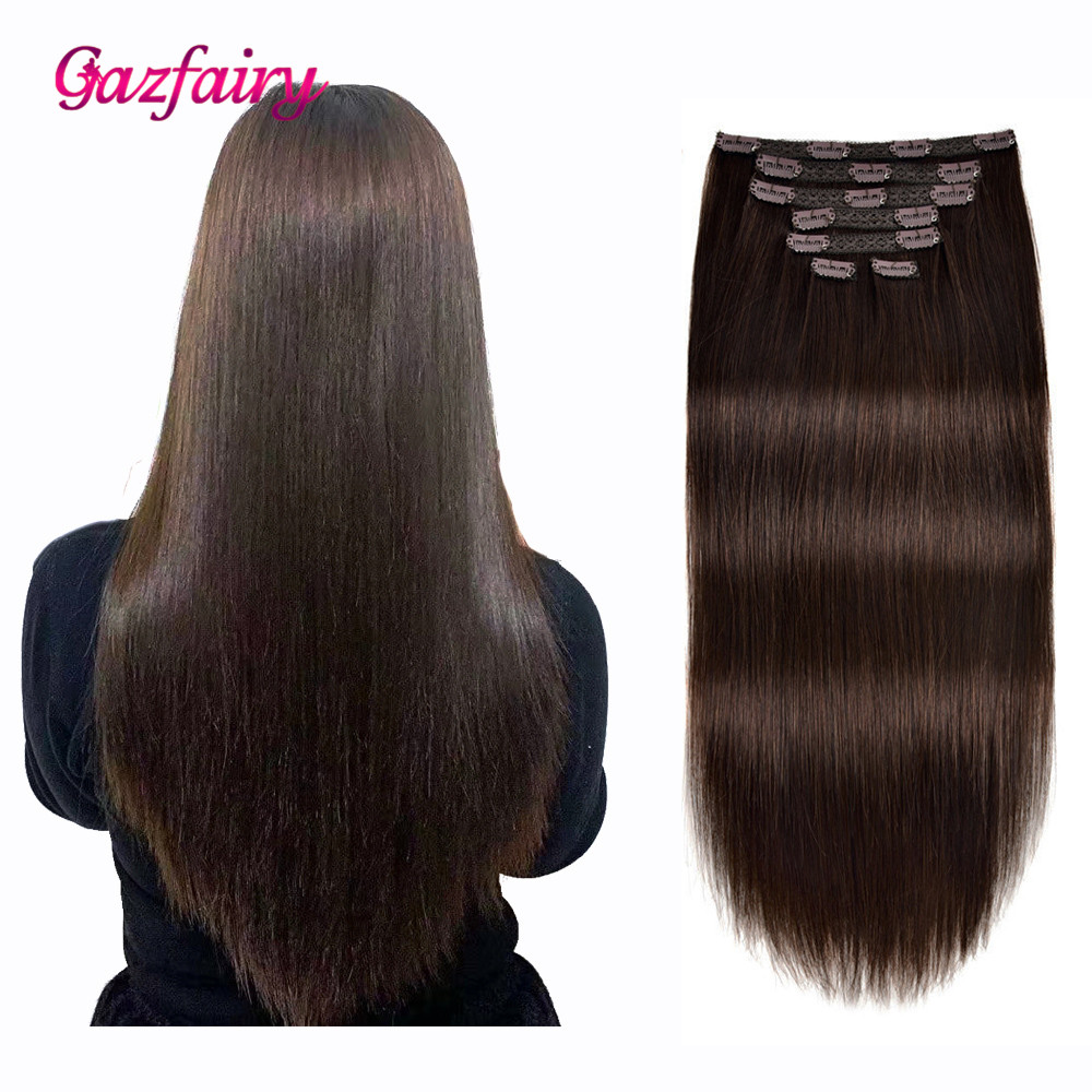Gazfairy Hair Brazilian Remy Straight Hair 14'' 70g Clip In Human Hair Extensions Natural Color 7 Pieces/Set Full Head Sets