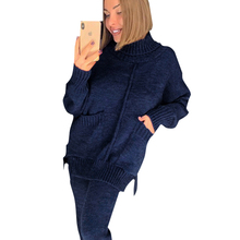 TAOVK Women Autumn Womens Knitted Suits Mid Lined Turtleneck Sweater and Knit Pant Female 2 Piece Set