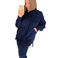 TAOVKผู้หญิงฤดูใบไม้ร่วงผู้หญิงถักชุดกลางเรียงรายเสื้อกันหนาวและกางเกงถักหญิงชุด 2 ชิ้น