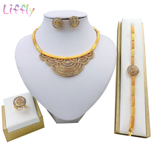 Liffly Fashion Flower Jewelry Sets Dubai Charm Bridal Wedding Party Jewelry Crystal Necklace Earrings Ring Bracelet for Women