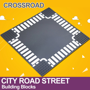 Image 2 - City Road Street Baseplate Straight Crossroad Curve T Junction Building Blocks 7280 7281 Base Plate compatible LegoINGlys City
