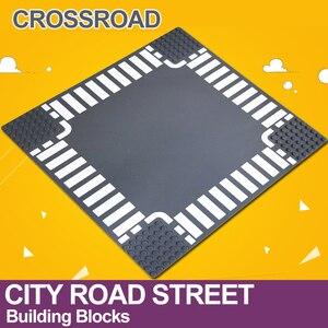 Image 2 - 市道ストリートベースプレートストレート交差点曲線 T 接合ビルディングブロック 7280 7281 ベースプレート互換 LegoINGlys 市