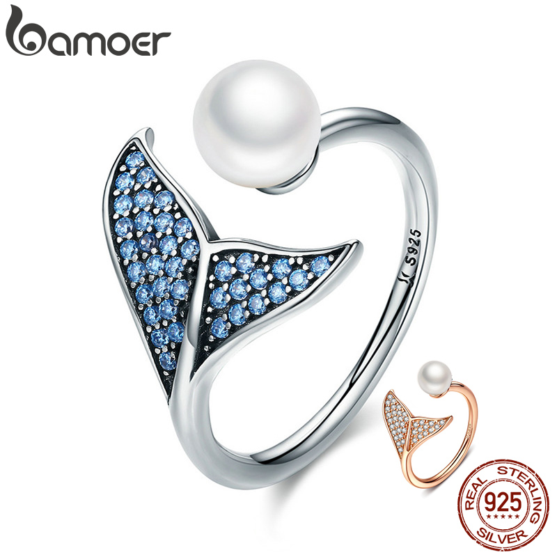 BAMOER Authentic 925 Sterling Silver Adjustable Dolphin Tail Blue CZ Finger Rings For Women Sterling Silver Jewelry Gift SCR286