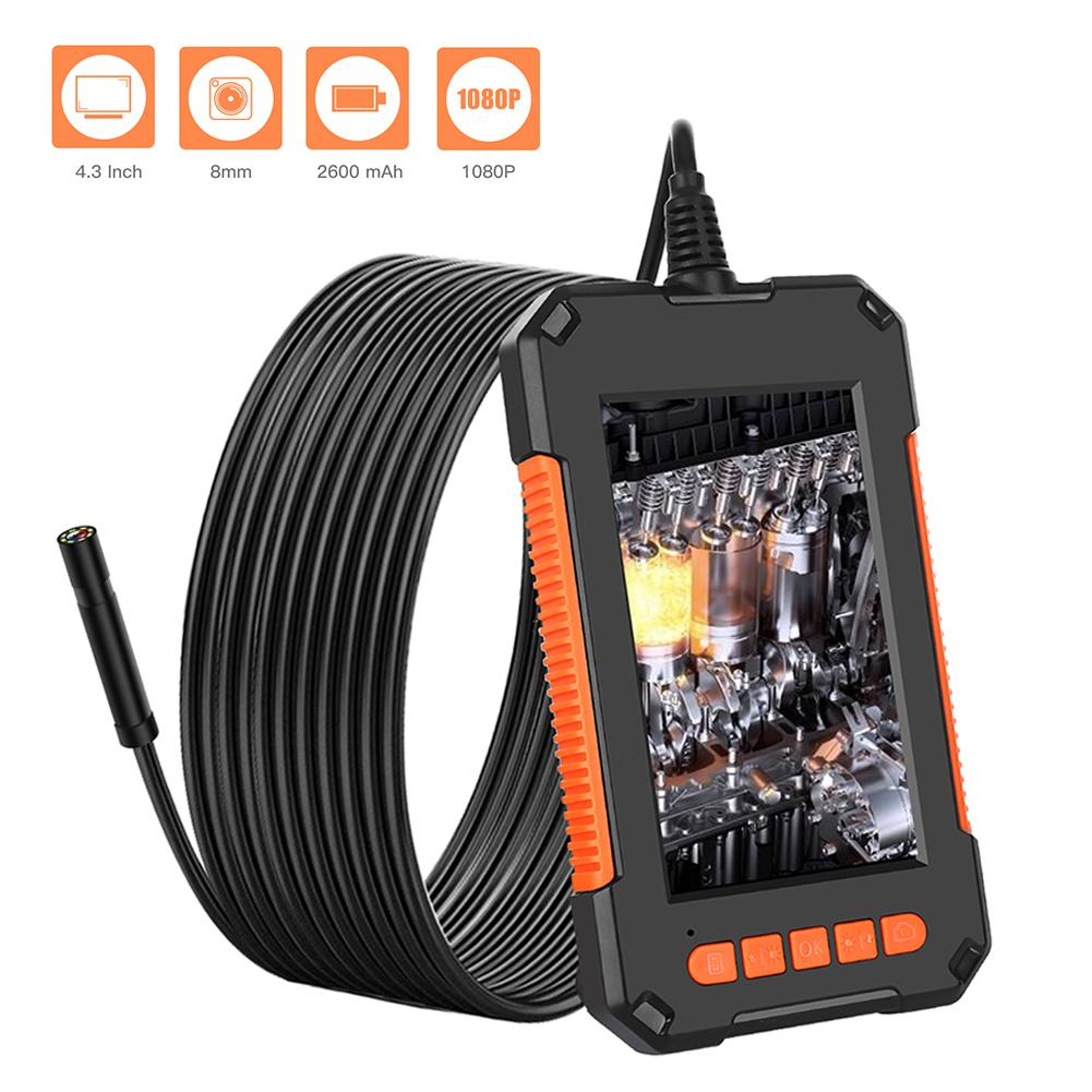 Mini Size HD 1080P IP67 Waterproof Industrial Endoscope Camera with 4.3 Inch Screen 8LED 2600mAh  8 adjustable LED 8 MM Lens