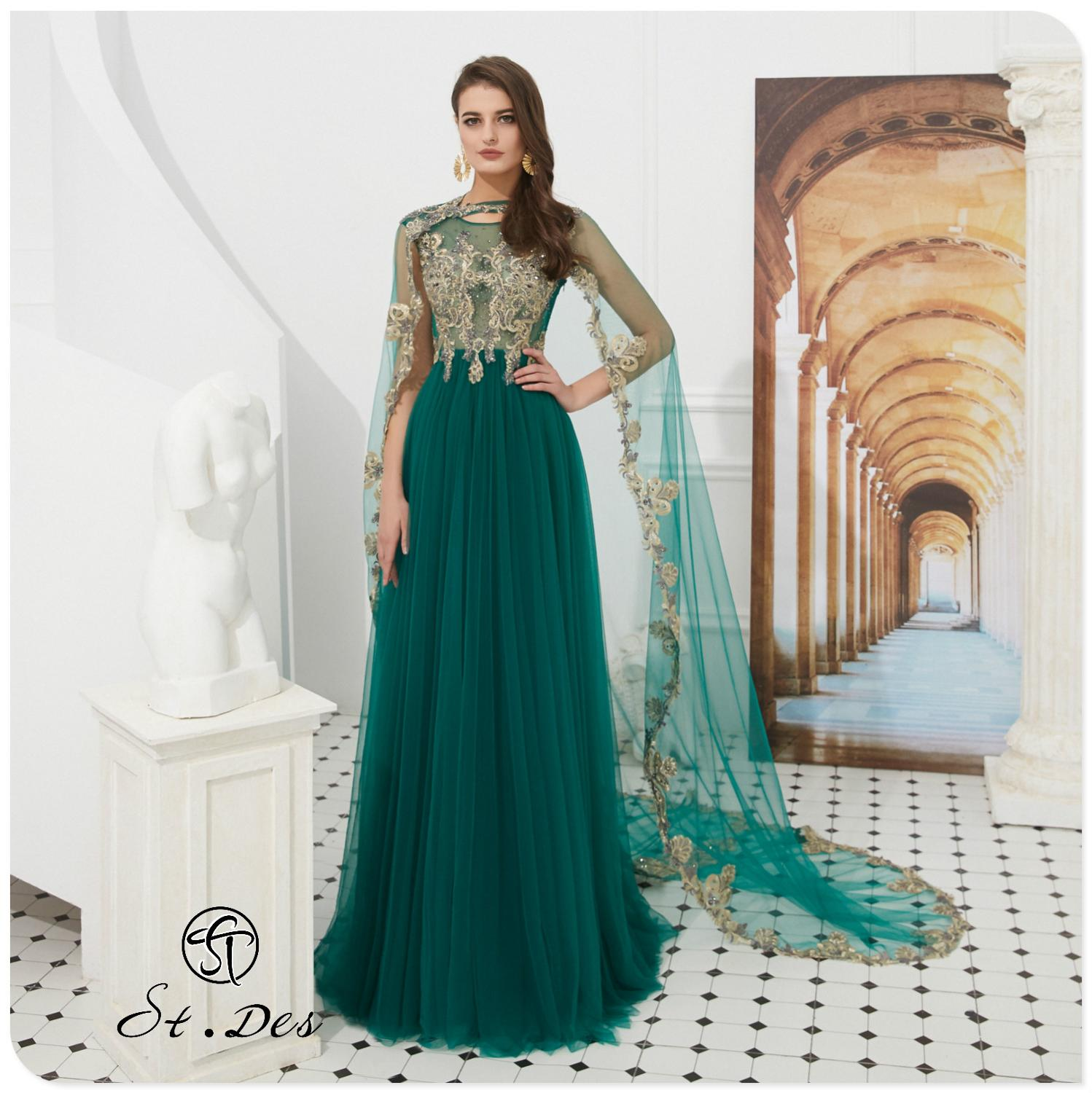 2020 S.T.DES A-line Cape Cloak Round-Neck Green Embroidery Short Sleeve Evening Dresses Long Party Gown Formal Dress