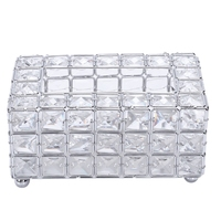 European Crystal Tissue Box Simple Home Living Room Coffee Table Drawers Desktop Napkin Storage Box Creative Car Silver|Tissue Boxes|   -