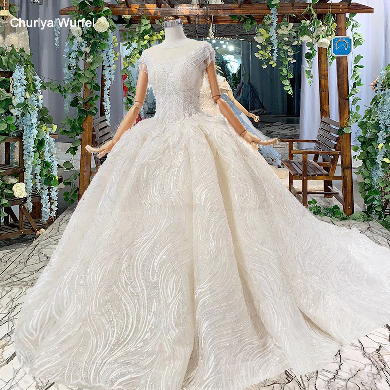 HTL537 Shiny Lace Wedding Dress Tassel Short Sleeves Lace Up On Two Side Illusion Back Ball Gown Wedding Gown Trouwjurken Bal