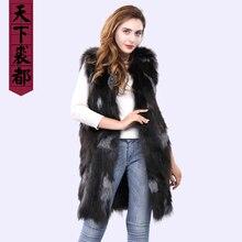 Зимний женский жилет из натурального Лисьего меха, повседневный женский жилет из натурального меха серебристой лисы, брендовый жилет без рукавов на заказ 50 70 90 см, меховая одежда