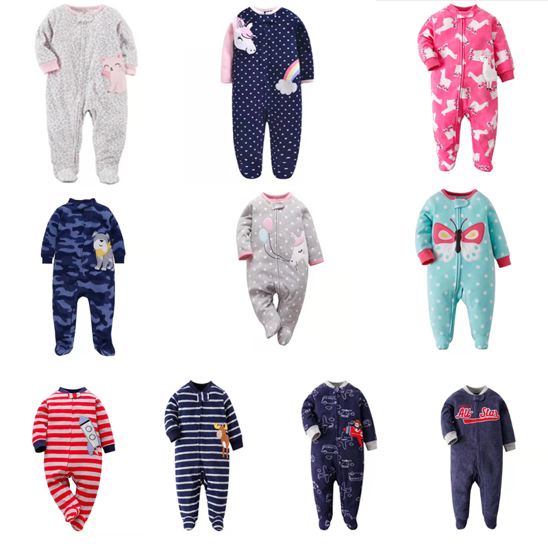 Newborn Baby Clothes Cartoon New Born Boy Girl Jumpsuit Long Sleeve Footies Fleece 2020 Zipper Unisex 0-12 Month Winter Costume