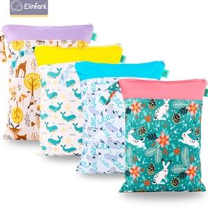 Elinfant 1PC Reusable Waterproof Fashion Prints Wet Dry Diaper Bag Double Pocket Cloth Handle Wetbags 30*40CM Wholesale