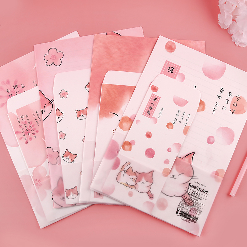 9 Pcs/Set 3 Envelopes + 6 Letter Papers Sweet Kitten Cat Blessing Envelope Writing Paper Gift Stationery