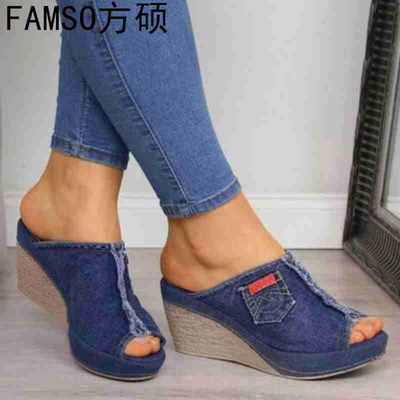 FAMSO 2019 New Women Sandals Peep toe Print Wedges High Heels Sandals Shoes Denim Summer Lady Casual Platforms Sandals Shoes