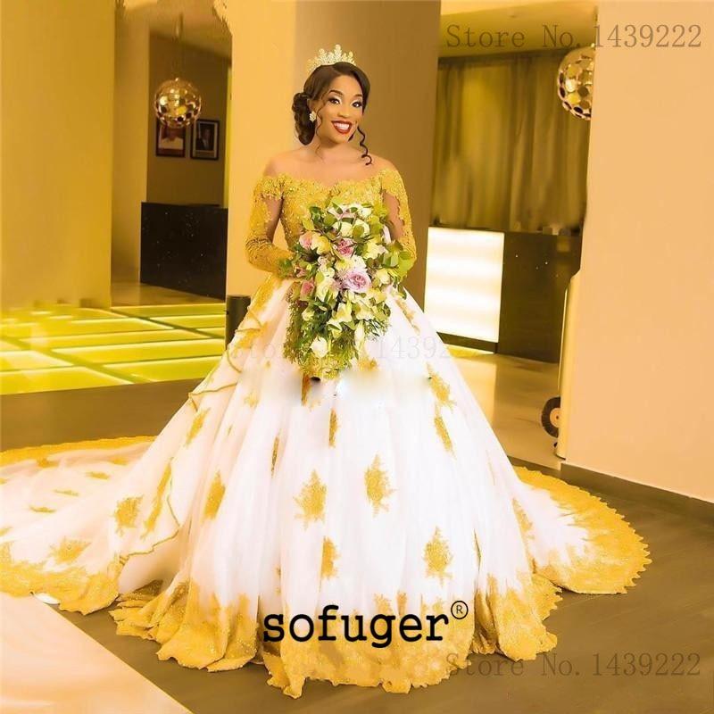 Yellow Appliques Aline Wedding Dress Long Sleeves Boat Neck Robe De Mariee Sofuge Boho Dubai Arabic Abiti Da Sposa