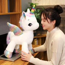 40cm ~1M Giant Unicorn Plush toy Fantastic Rainbow Glowing Wings Stuffed Unicornio Doll toys for girl Unique Horn Colorful feet(China)