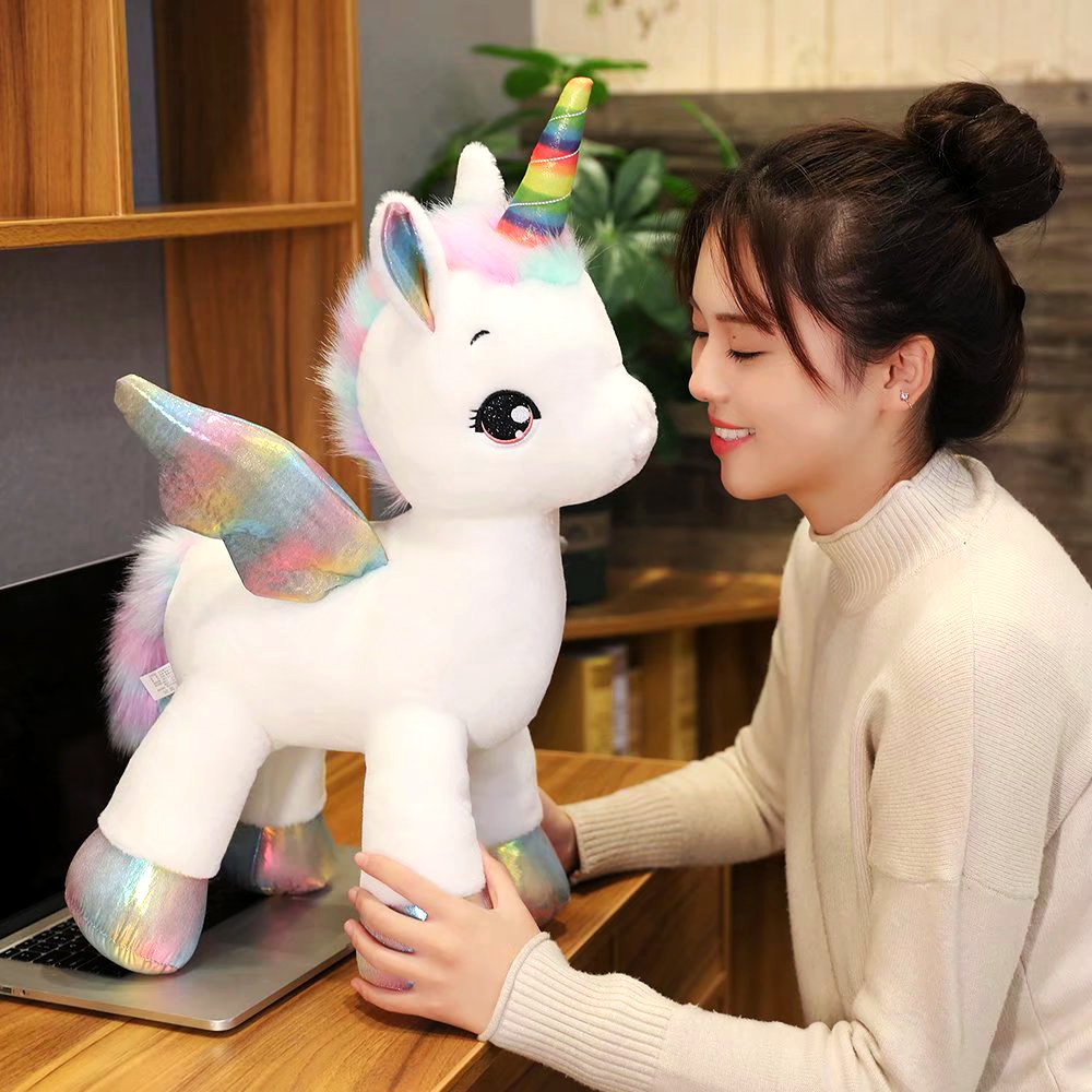 40cm ~1M Giant <font><b>Unicorn</b></font> Plush <font><b>toy</b></font> Fantastic Rainbow Glowing Wings Stuffed Unicornio Doll <font><b>toys</b></font> <font><b>for</b></font> <font><b>girl</b></font> Unique Horn Colorful feet image