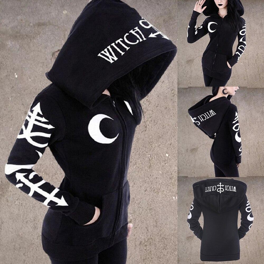 Mulheres gothic hoodies 2019 inverno harajuku lua carta impressão preto feminino camisolas bolso casual com capuz zíper moletom do punk