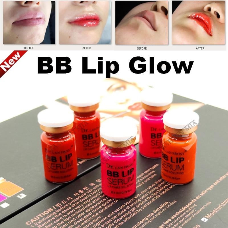 5 vials 8ml Korean BB Lip Glow Ampoule Serum Lip Gloss BB Cream Romantic Red For Permanent Makeup Microneedle Nano MTS Treatment