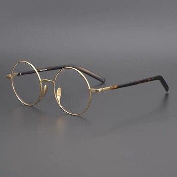 classic half glasses frames optical glasses frames for women men eyeglass eyewear frames unisex glasses frames Titanium Round Glasses Frame Women Men Vintage Small Eye Glasses Man Optical Prescription Eyeglasses Frames Clear Eyewear Oculos