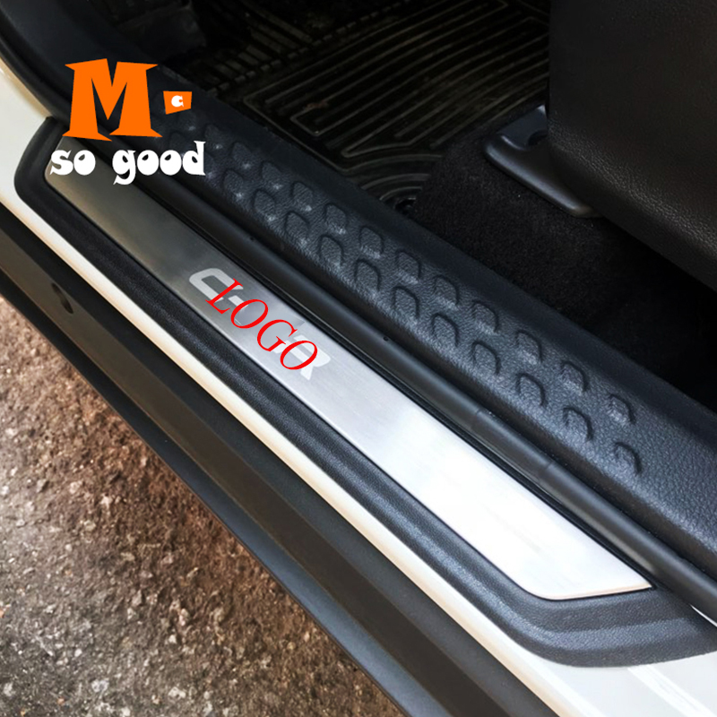 car styling Stainless Steel Door Sill Scuff Plates fit for Toyota C-HR CHR 2017