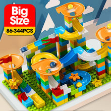 86-344PCS Marble Race Run Big Block Compatible Duploed Building Blocks Funnel Slide Blocks DIY Big Bricks Toys For Children Gift