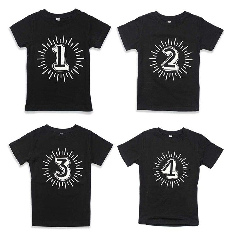 Birthday Party T-shirts Children Baby Girl Summer Tops Black Tshirt Kids Number 1 2 3 4 Print Boys Short Sleeve Unisex Tee Tops