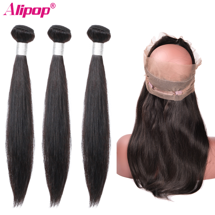 360 Lace Frontal With Bundles Straight Peruvian Hair Bundles With Closure Remy Human Hair Weave 3 Bundles With Closure ALIPOP-in 3/4 Bundles with Closure from Hair Extensions & Wigs    1
