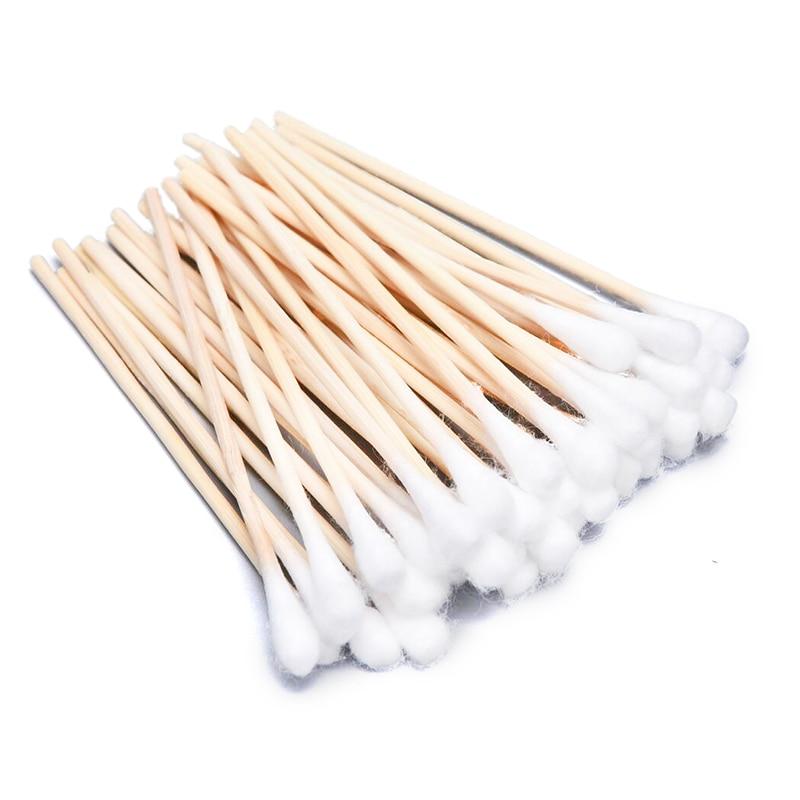 50Pcs/Bag 9.5CM Long Wooden Handle Cotton Swab Single-Head Q-Tips Ear Nose Cleaning Sterile Sticks Makeup Applicator Remove Tool