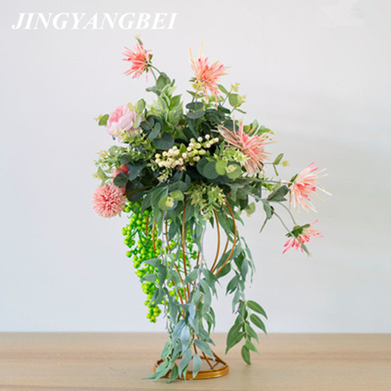 Artificial silk flower wrought iron dining table table flower wedding stage T platform road props hotel window decoration