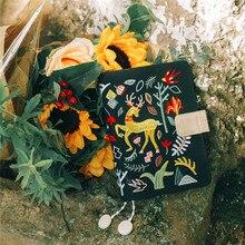 かわいい刺繍A6アジェンダ毎日計画布ブックカバー旅行ノートブックジャーナルdiy日記ホーボーdokibook効率ブックギフト