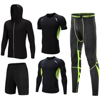 Fashion Quick-drying Men's Fitness Clothes Breathable Moisture Wicking Gymnastic Sportswear Sets Elastic Soft Running Sweatsuit blue black women fitness shorts slim anti light butt hips lifting quick drying running moisture sweat sportswear elastic waist